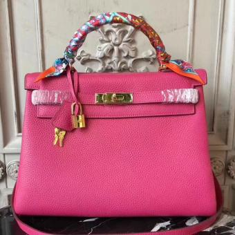Hermes Rose Red Clemence Kelly 28cm Bag Replica