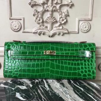 High Quality Copy Hermes Bambou Crocodile Kelly Cut Clutch Bag