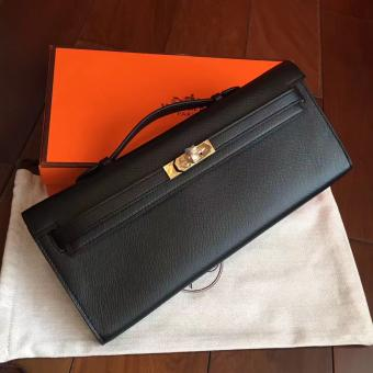 Hermes Black Epsom Kelly Cut Clutch Handmade Bag Replica