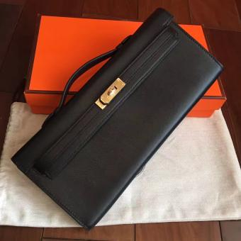 Designer Replica Hermes Black Swift Kelly Cut Clutch Handmade Bag