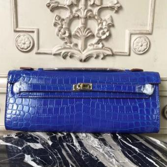 Imitation Hermes Blue Electric Crocodile Kelly Cut Clutch Bag