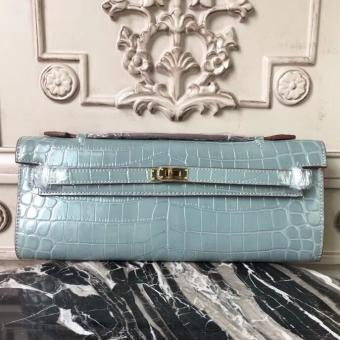 Hermes Blue Lin Crocodile Kelly Cut Clutch Bag