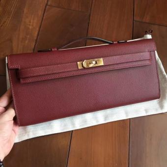 Replica Hermes Bordeaux Epsom Kelly Cut Clutch Handmade Bag