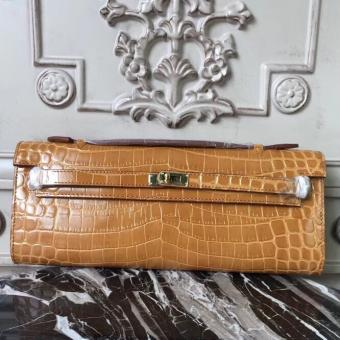 Hermes Camarel Crocodile Kelly Cut Clutch Bag Replica