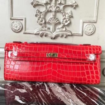 Cheap Fake Hermes Cherry Crocodile Kelly Cut Clutch Bag