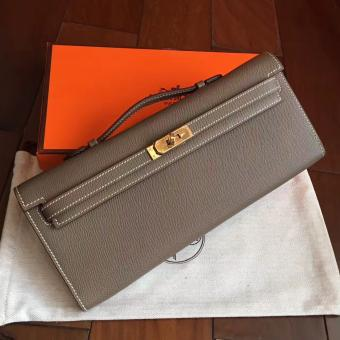 Hermes Etoupe Epsom Kelly Cut Clutch Handmade Bag