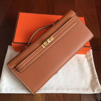 Luxury Replica Hermes Gold Swift Kelly Cut Clutch Handmade Bag