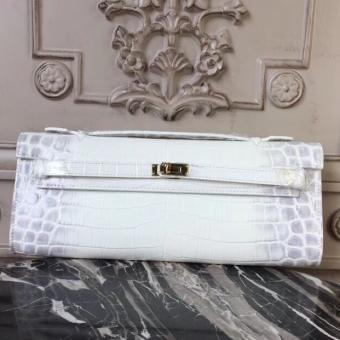 Top Quality Hermes Himalaya Crocodile Kelly Cut Clutch Bag