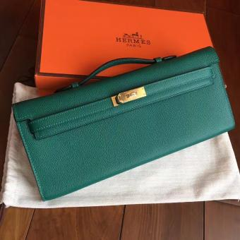 Knockoff Hermes Malachite Epsom Kelly Cut Clutch Handmade Bag