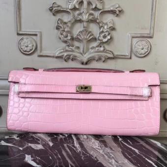 High Quality Hermes Pink Crocodile Kelly Cut Clutch Bag