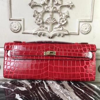 Hermes Red Crocodile Kelly Cut Clutch Bag