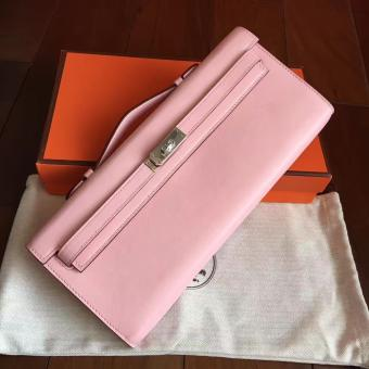 Imitation Hermes Rose Dragee Swift Kelly Cut Clutch Handmade Bag