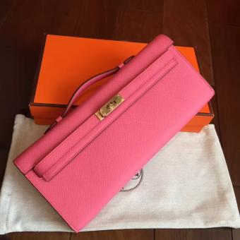 High Quality Knockoff Hermes Rose Lipstick Epsom Kelly Cut Clutch Handmade Bag