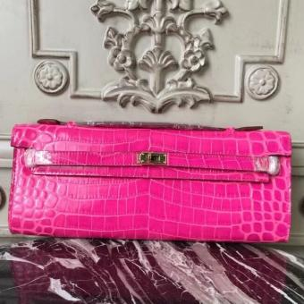 Hermes Rose Red Crocodile Kelly Cut Clutch Bag