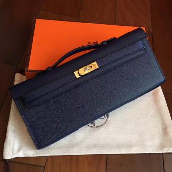 Luxury Imitation Hermes Sapphire Epsom Kelly Cut Clutch Handmade Bag