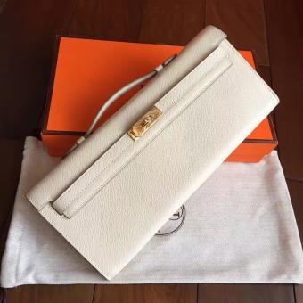 Hermes White Epsom Kelly Cut Clutch Handmade Bag