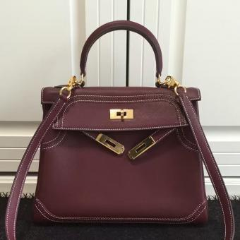Cheap Replica Hermes Kelly Ghillies 28cm In Burgundy Swift Leather