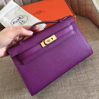 Top Replica Hermes Cyclamen Epsom Kelly Pochette Handmade Bag