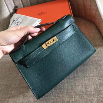 Wholesale Hermes Malachite Epsom Kelly Pochette Handmade Bag