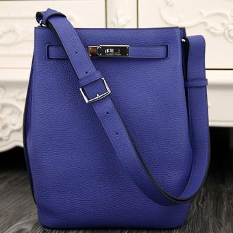 Hermes So Kelly 22cm Bag In Blue Leather