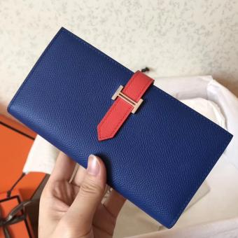 Replica Hermes Bi-Color Epsom Bearn Wallet Electric Blue/Piment