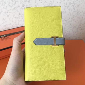Hermes Bi-Color Epsom Bearn Wallet Soufre/Blue Lin