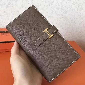 Knockoff Hermes Taupe Clemence Bearn Gusset Wallet