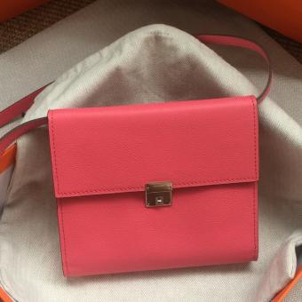 Replica 1:1 Hermes Rose Lipstick Clic 16 Wallet With Strap