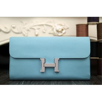 Copy Perfect Hermes Constance Wallet In Light Blue Epsom Leather