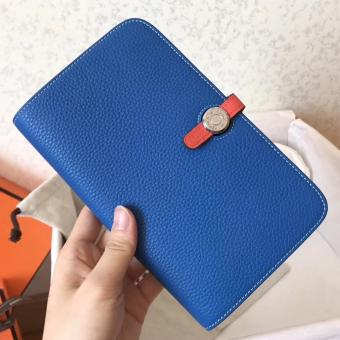 Hermes Bicolor Dogon Duo Wallet In Blue/Piment Leather Replica