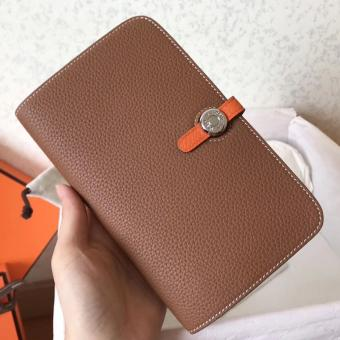 Faux Hermes Bicolor Dogon Duo Wallet In Brown/Orange Leather
