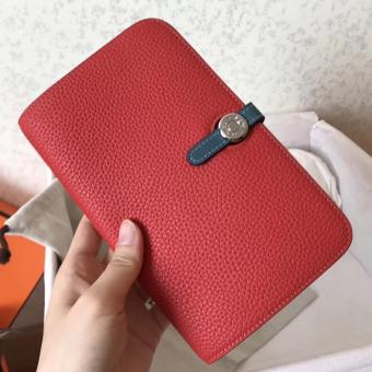 Top Quality Hermes Bicolor Dogon Duo Wallet In Red/Jean Leather