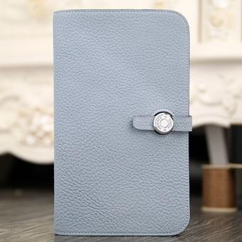 Hermes Dogon Combine Wallet In Blue Lin Leather Replica