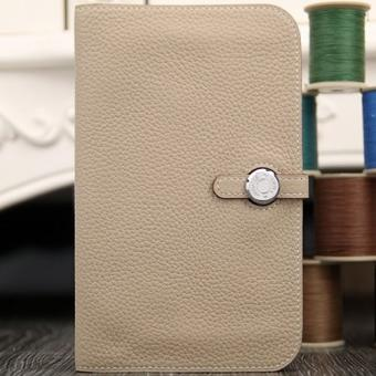 Hermes Dogon Combine Wallet In Grey Leather