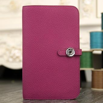 High End Hermes Dogon Combine Wallet In Purple Leather