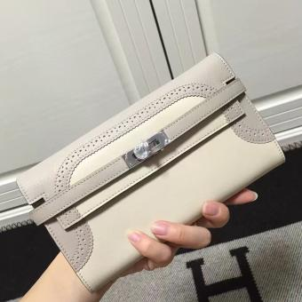Hermes Bicolor Kelly Ghillies Wallet In Ivory Swift Leather Replica