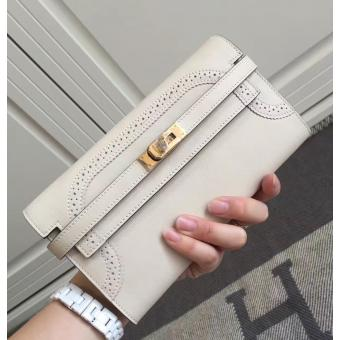 Replica Hermes Kelly Ghillies Wallet In Ivory Swift Leather