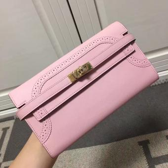 1:1 Fake Hermes Kelly Ghillies Wallet In Pink Swift Leather
