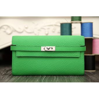 Imitation Hermes Kelly Longue Wallet In Bamboo Clemence Leather