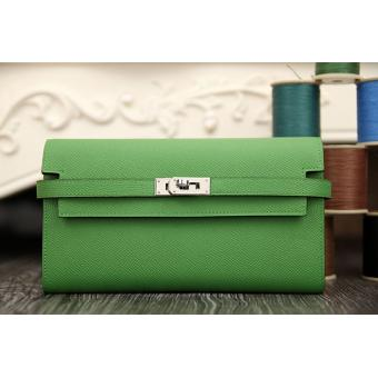 1:1 Hermes Kelly Longue Wallet In Bamboo Epsom Leather