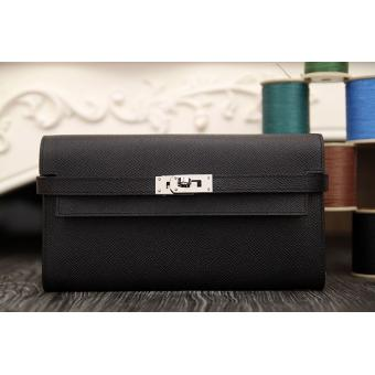 Discount Hermes Kelly Longue Wallet In Black Epsom Leather