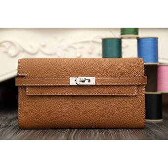 Replica High Quality Hermes Kelly Longue Wallet In Brown Clemence Leather