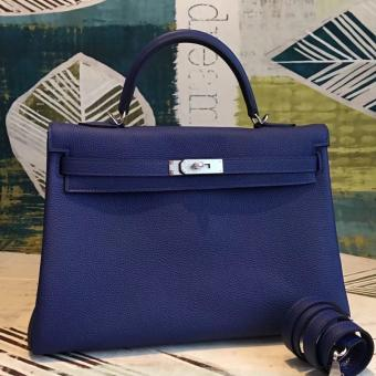 High Quality Knockoff Hermes Blue Clemence Kelly 35cm Handmade Bag