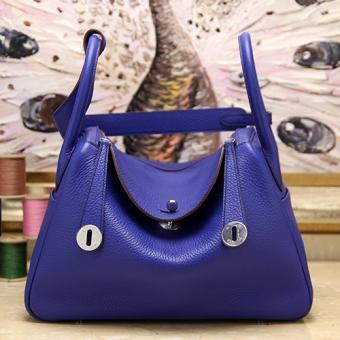 Hermes Blue Electric Clemence Lindy 34cm Bag
