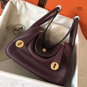 High Quality Imitation Hermes Bordeaux Lindy 26cm Clemence Handmade Bag