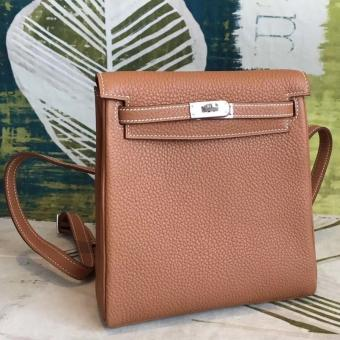 1:1 Replica Hermes Brown Clemence Kelly Ado PM Backpack