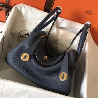 Luxury Replica Hermes Dark Blue Lindy 26cm Clemence Handmade Bag