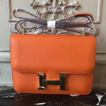 Hermes Orange Constance MM 24cm Epsom Leather Bag Replica