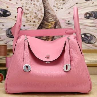 High End Hermes Pink Clemence Lindy 34cm Bag