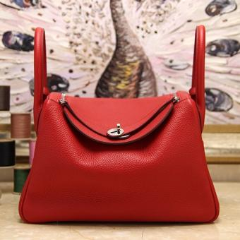 Replica AAA Hermes Red Clemence Lindy 30cm Bag